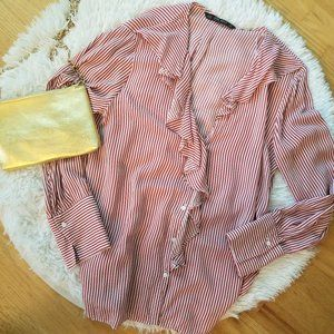 Zara ruffle button up striped red & white blouse